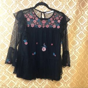 Zara black lace blouse. Ruffle & floral detailing